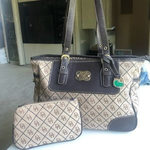 Dooney & Bourke Leather Canvas bag matching pouch